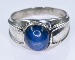 26.92 Crt Glass Filled Sapphire 925 Silver  Ring