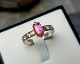 Natural Rubelite with CZ Ring.