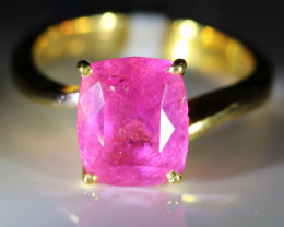 Rubellite 3.54ct Solid 22K Yellow Gold Solitaire Ring