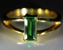 Tsavorite Garnet 1.14ct Solid 18K Yellow Gold Solitaire Ring