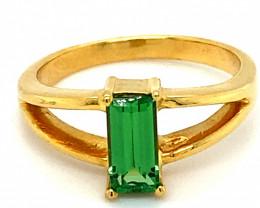 Tsavorite Garnet 1.14ct Solid 18K Yellow Gold Solitaire Ring
