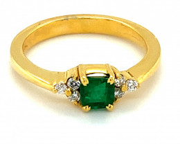 Emerald .95ct Diamonds Solid 18K Yellow Gold Multistone Ring