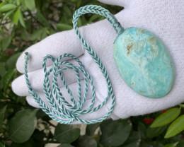 Blue calcite oval shape hand polish necklace