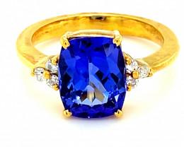 Tanzanite 4.08ct Diamonds Solid 18K Yellow Gold Multistone Ring