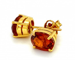 Spessartine Garnet 5.50ct Solid 18K Yellow Gold Earrings