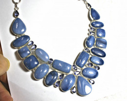 391.0 Natural Blue Opal, Sterling Silver Necklace - Gorgeous