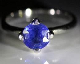 Blue Sapphire 1.40ct Platinum Finish Solid 925 Sterling Silver Ring