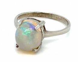 White Opal 3.02ct Platinum Finish Solid 925 Sterling Silver Ring