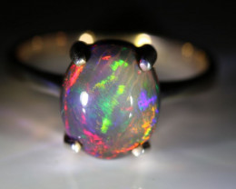 Choc Opal 3.30ct Rhodium Finish Solid 925 Sterling Silver Ring