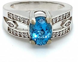 Blue Topaz 1.70ct Platinum Finish Solid 925 Sterling Silver Ring