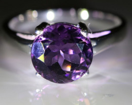Amethyst 1.32ct Platinum Finish Solid 925 Sterling Silver Ring
