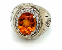 Citrine 3.50ct Platinum Finish Solid 925 Sterling Silver Ring
