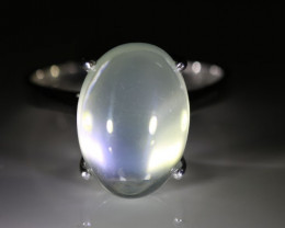 Moonstone 9.40ct Platinum Finish Solid 925 Sterling Silver Ring