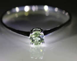 Mint Green Tourmaline .34ct Platinum Solid 925 Sterling Silver Ring