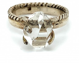 Herkimer Diamond Quartz Crystal 7.30ct Solid 925 Sterling Silver Ring