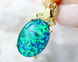 Stunning Man made Blue Green  Opal Pendant GTJA 1004
