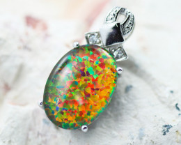 Stunning Man made Fire Opal Pendant GTJA 1002