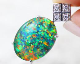 Stunning Man made Fire Opal Diamond shape Pendant  GTJA 1020