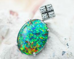 Stunning Man made Fire Opal Diamond shape Pendant  GTJA 1021