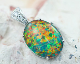 Stunning Man made Fire Opal  Pendant  GTJA 1033
