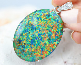 Large Stunning Man made Fire Opal  Pendant  GTJA 1047