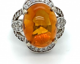 Citrine 6.30ct Platinum Finish Solid 925 Sterling Silver Ring