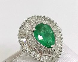 Natural Kagem Emerald and Diamond Ring 1.00 TCW