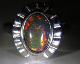 Black Opal 2.30ct Platinum Finish Solid 925 Sterling Silver Ring