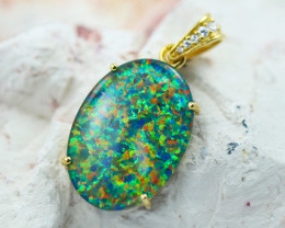 Massive  Stunning Man made Fire Opal  Pendant  GTJA 1050