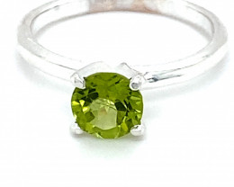 Peridot .90ct Platinum Finish Solid 925 Sterling Silver Ring