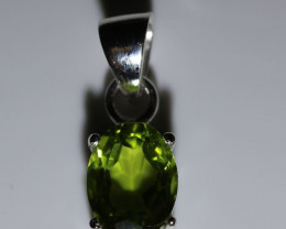 Peridot .95ct Platinum Finish Solid 925 Sterling Silver Pendant