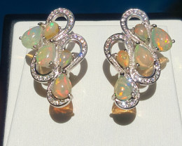 Gorgoues Natural Opal with CZ Earring.