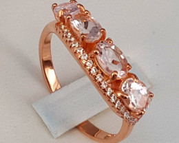 Natural Morganite Ring with CZ.