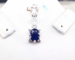 Blue sapphire with CZ Pendent.