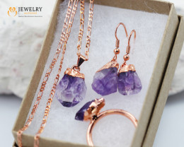 4 Piece Amethyst Jewelry set $99 for $10.00 - Size 8.5