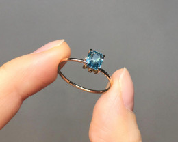 Blue Indicolite Tourmaline Untreated Solid 14K Yellow Gold Ring