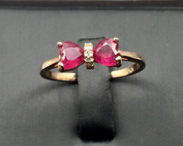 Natural Ruby ring with White CZ in Rose Gold Silver 925.