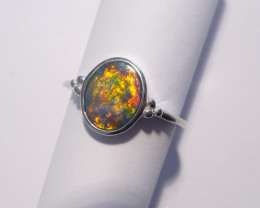 Unique Australian Opal and Sterling Silver Ring  Size M or 6 (z3302)