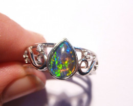 Beautiful Australian Opal and Sterling Silver Ring  Size O or 7 (z3317)