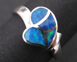 Stunning Australian Inlayed Opal and Sterling Silver Ring  Size 8 7/8 (z109