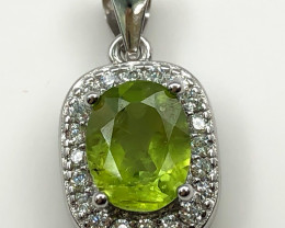 16.06 Crt Peridot With Cubic Zirconia 925 Silver Pendant