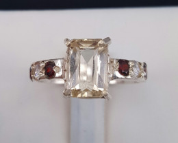 Natural Katlang Topaz Ring With CZ in Silver