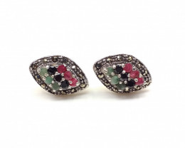 RUBY EMERALD SAPPHIRE MIXED 925 SILVER EARRING  A5