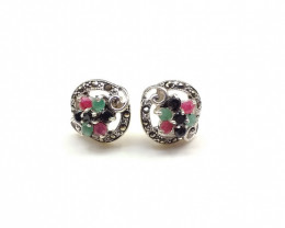 RUBY EMERALD SAPPHIRE MIXED 925 SILVER EARRING  A8