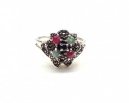 RUBY EMERALD SAPPHIRE MIXED 925% SILVER RING A15