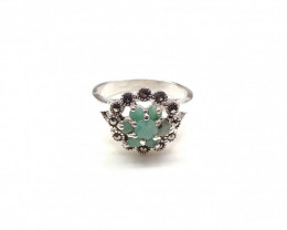 EMERALD 925% SILVER RING A16