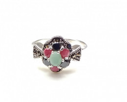RUBY EMERALD SAPPHIRE MIXED 925% SILVER RING A17