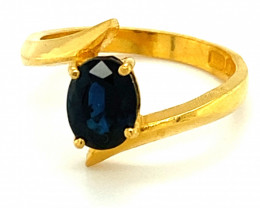 Royal Blue Sapphire 1.49ct Solid 22K Yellow Gold Solitaire Ring