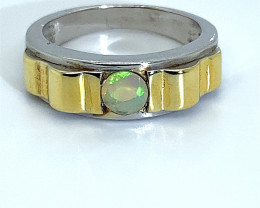 Precious Opal .45ct Rhodium Finish Solid 925 Sterling Silver Ring