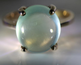 Prehnite 9.20ct Golden Rhodium Finish Solid 925 Sterling Silver Ring
